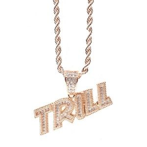 Other - Rose Gold Finish Lab Diamond TRILL Charm Chain Set